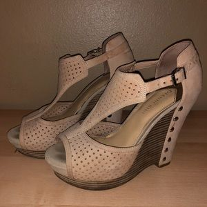 Gianni Bini Nude Wedges with Silver Studs